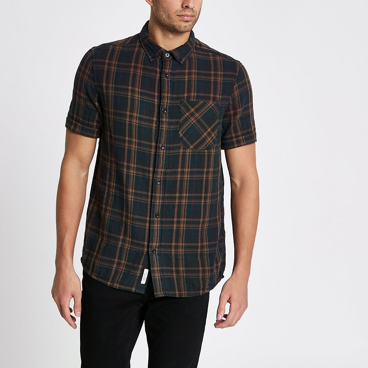 Green check double face short sleeve shirt