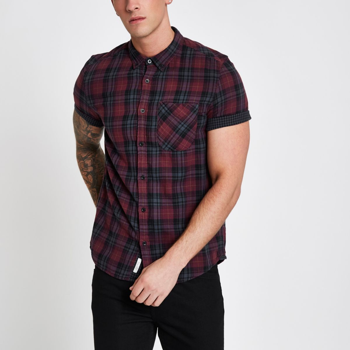 Burgundy check double face short sleeve shirt
