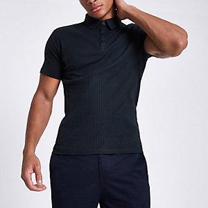 Marineblaues, geripptes Muscle Fit Poloshirt