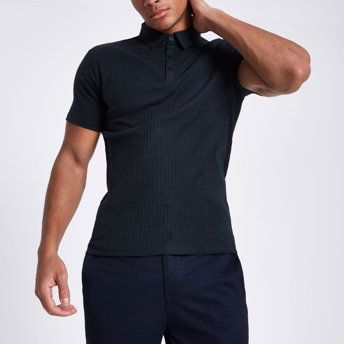 Navy Essential ribbed muscle fit polo shirt