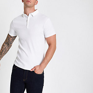 Weißes, geripptes Muscle Fit Poloshirt