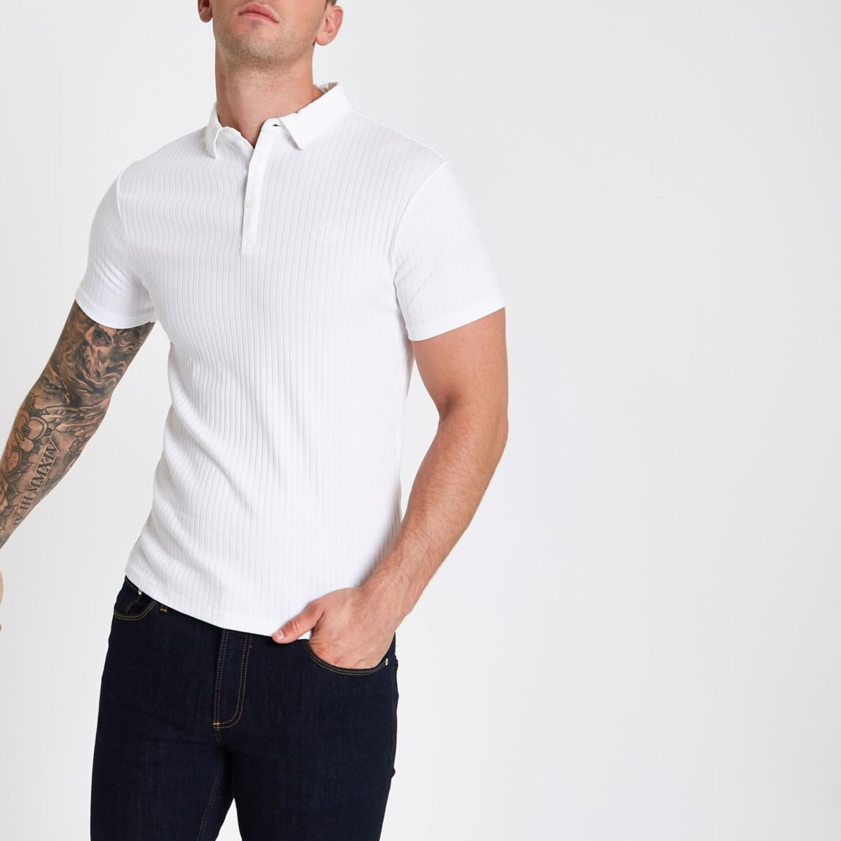 White Essentials ribbed muscle fit polo shirt - Polo ...