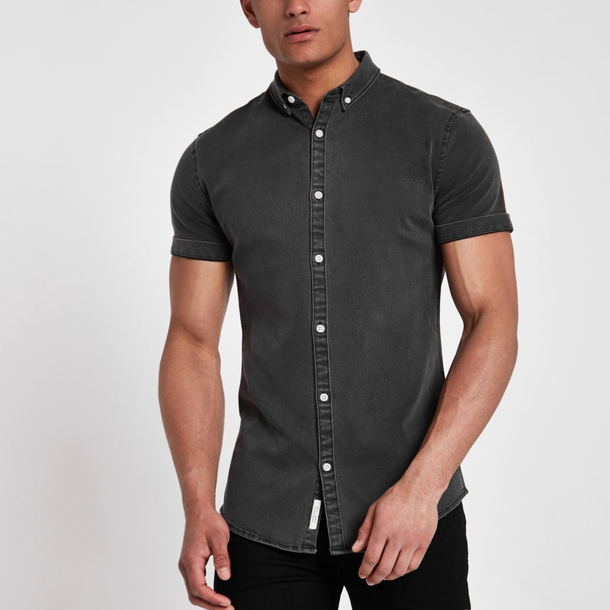 Black wash short sleeve denim shirt