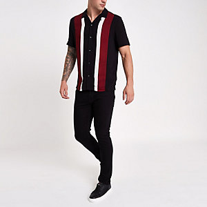 Black and red stripe revere shirt