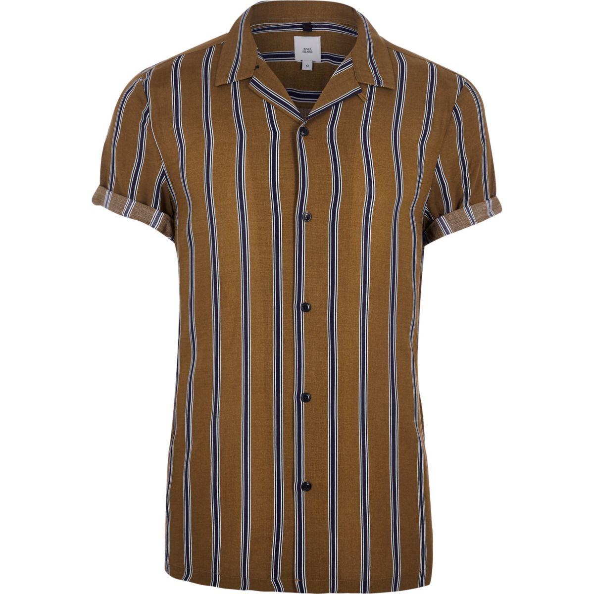 Brown stripe short sleeve revere shirt