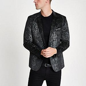 Zwarte skinny-fit blazer met slangenprint
