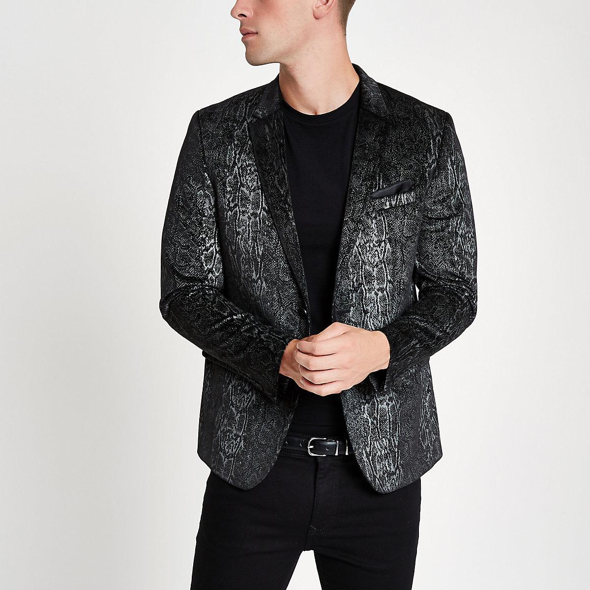 Black snakeskin print skinny fit blazer