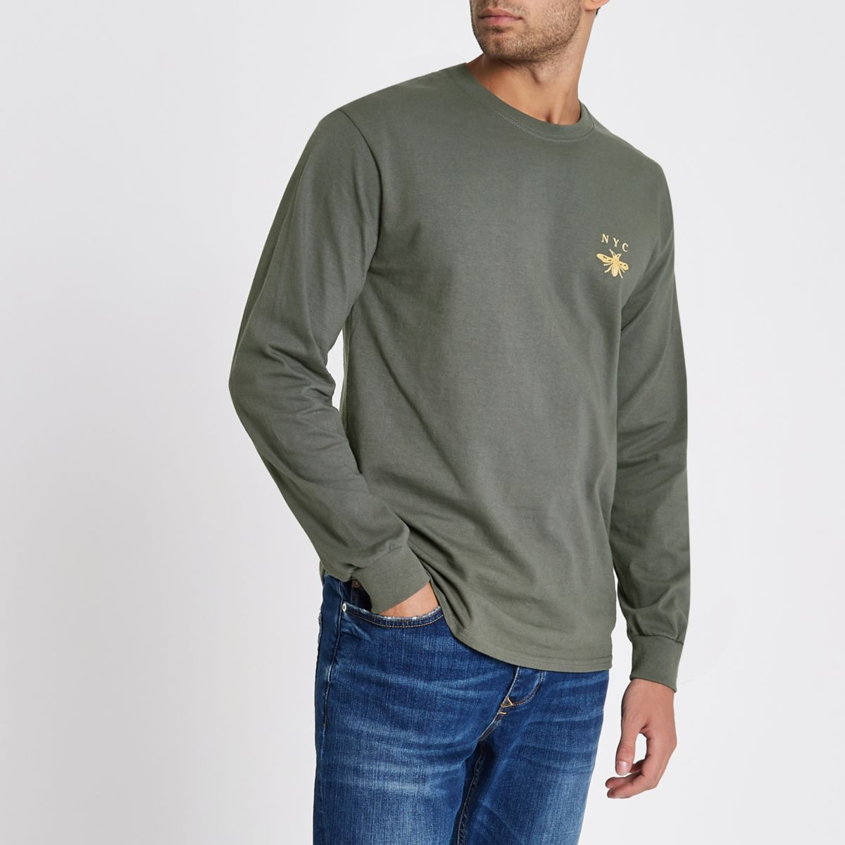Grey 'NYC' wasp print long sleeve T-shirt