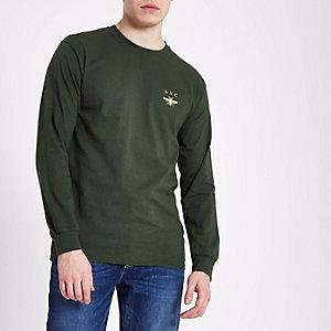 Donkergroen T-shirt met lange mouwen en NYC- en wespprint