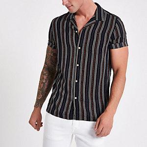 Zwart gestreept overhemd met Aztekenprint en revers