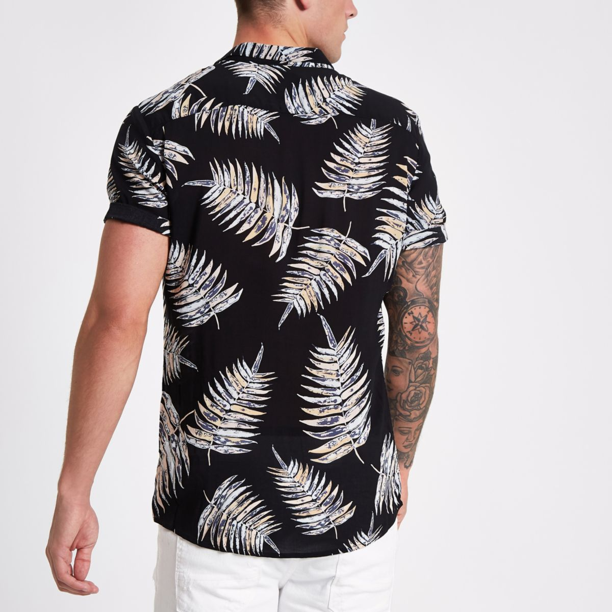 Black Leaf Print Slim Fit Revere Shirt by River Island
