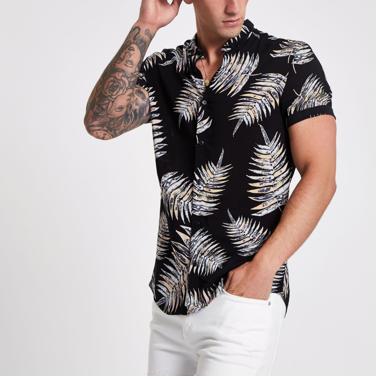 Black leaf print slim fit revere shirt