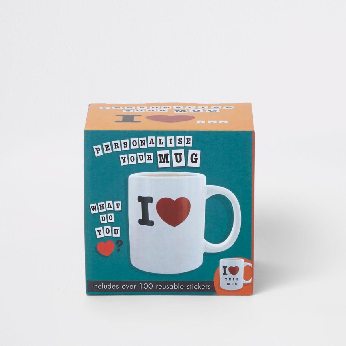Personalised stickers 'I love' mug