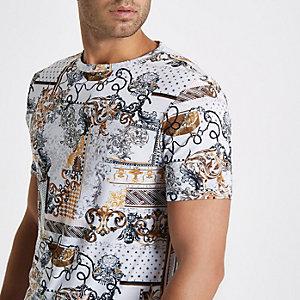 T-shirt ajusté imprimé blanc