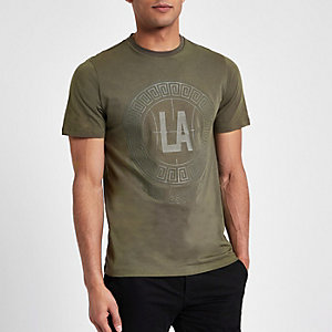 Khaki green 'LA' circle print slim T-shirt