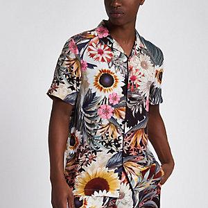 Kurzärmliges Hemd mit Sonnenblumenmuster
