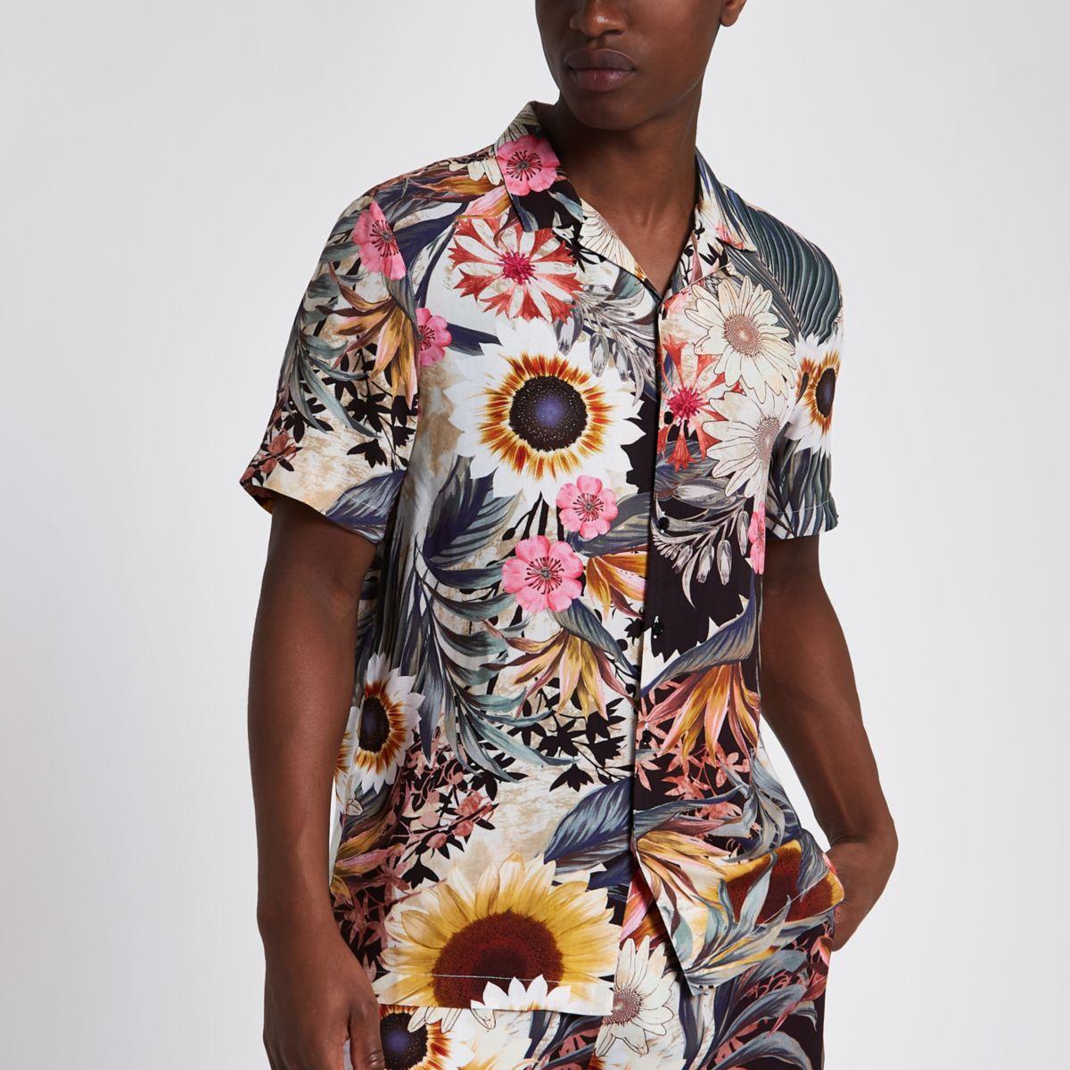 Pink sunflower print short sleeve shirt
