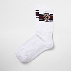 Chaussettes tube motif ours brodé blanches