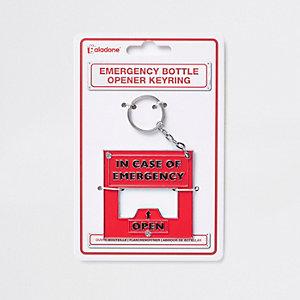 Rode 'emergency' flesopener en sleutelhanger