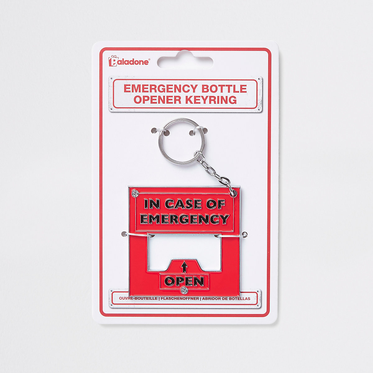 Red emergency bottle opener keyring