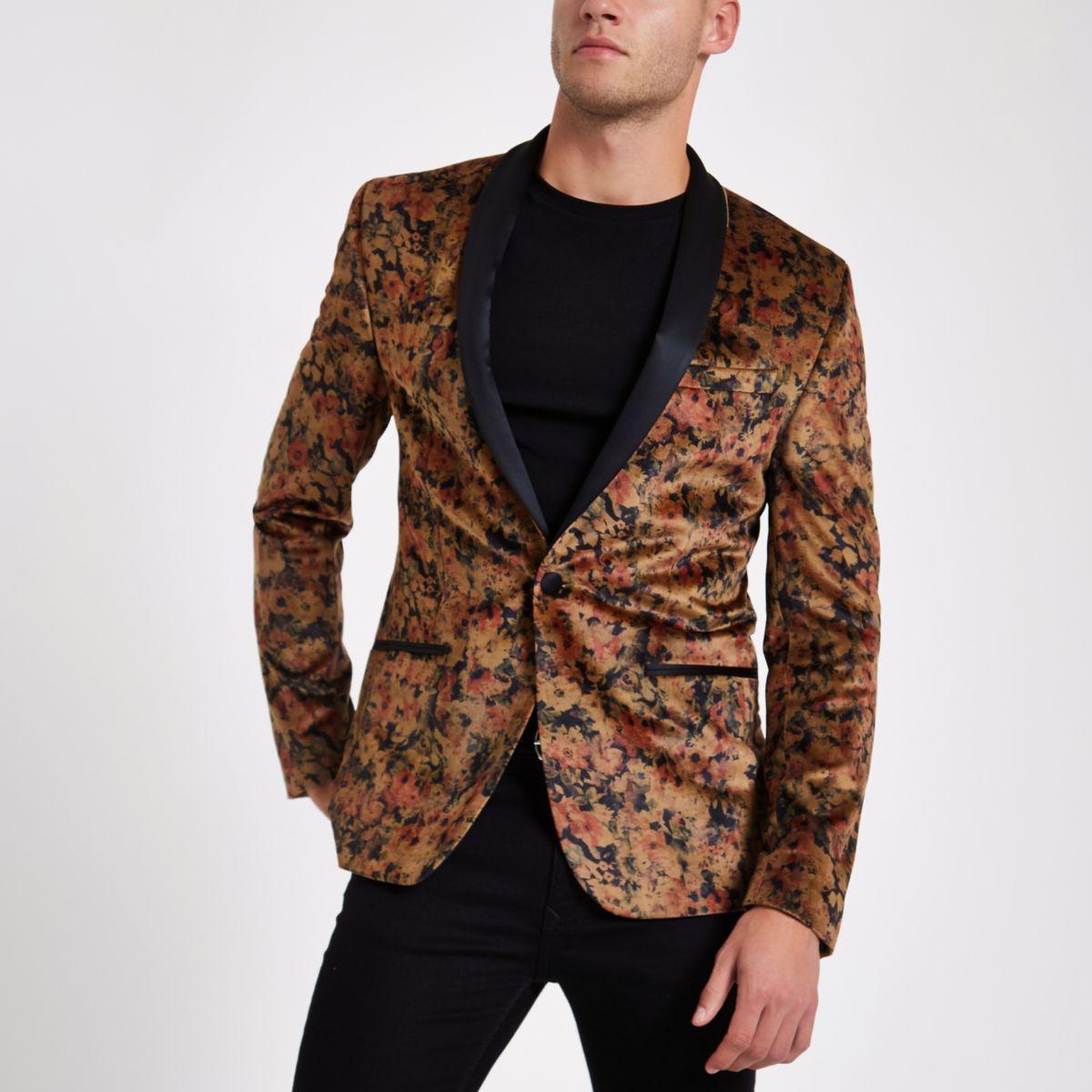 Black floral slim fit blazer
