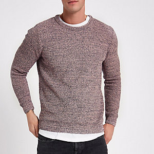 Pink textured knit slim fit crew neck jumper