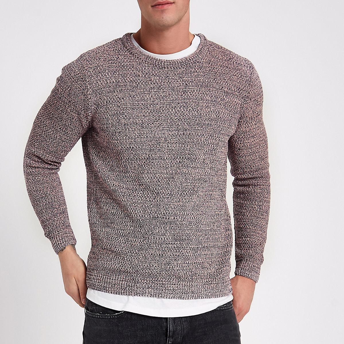 Pink textured knit slim fit crew neck sweater