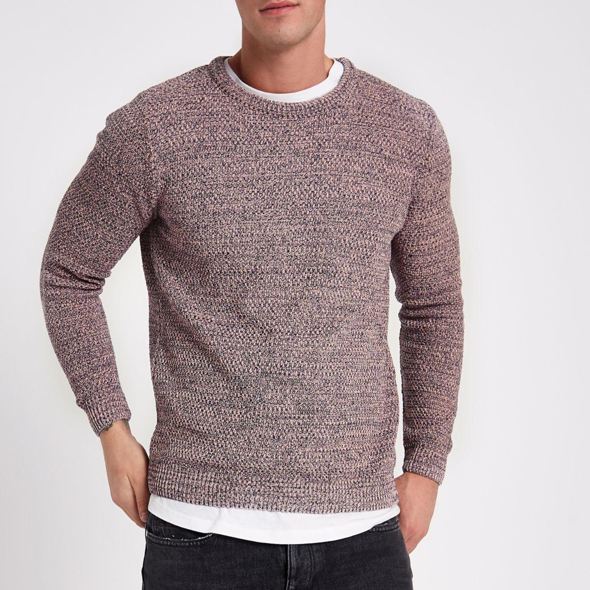 Pink textured knit slim fit crew neck jumper