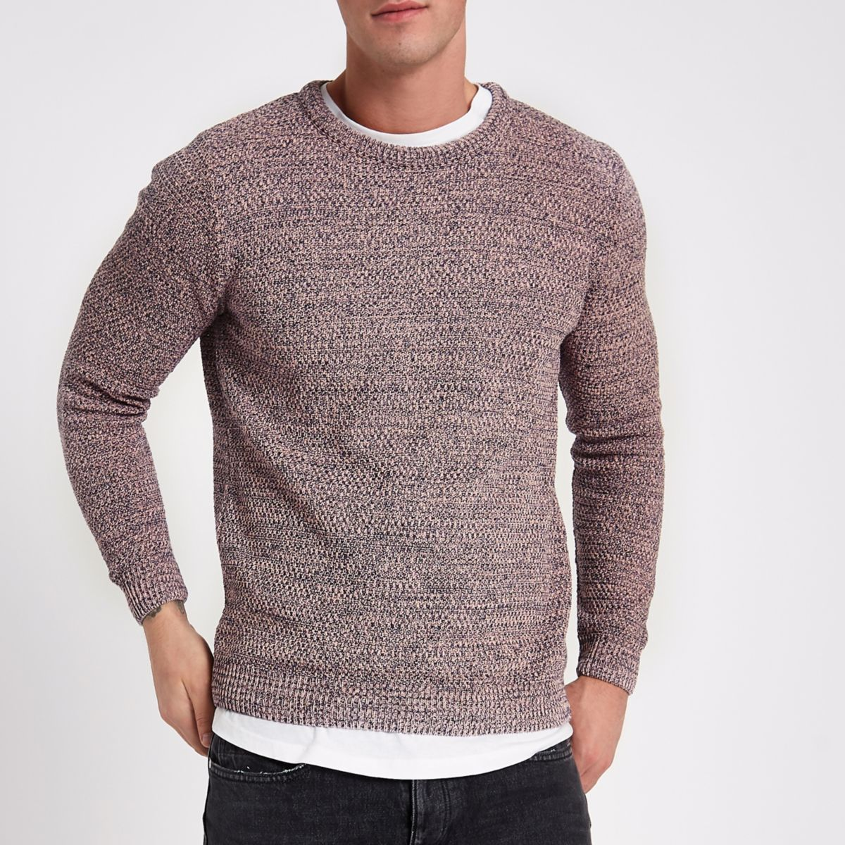 Pink textured knit slim fit crew neck sweater