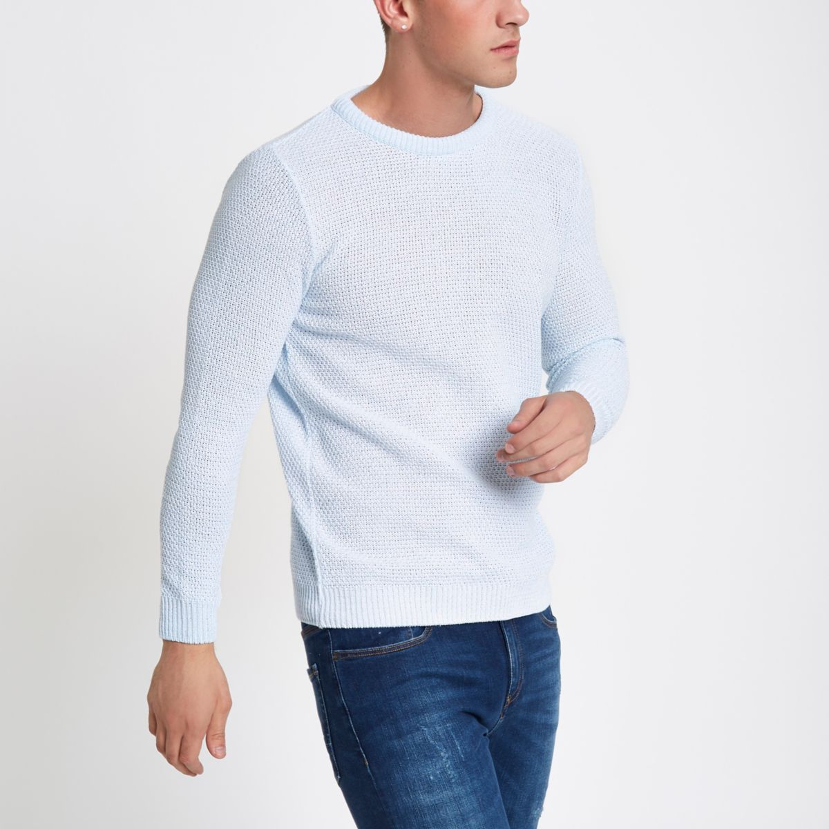 Light blue textured slim fit crew neck sweater