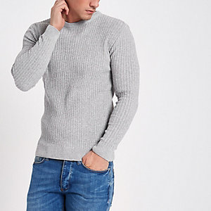 Grijze geribbelde aansluitende pullover met ronde hals