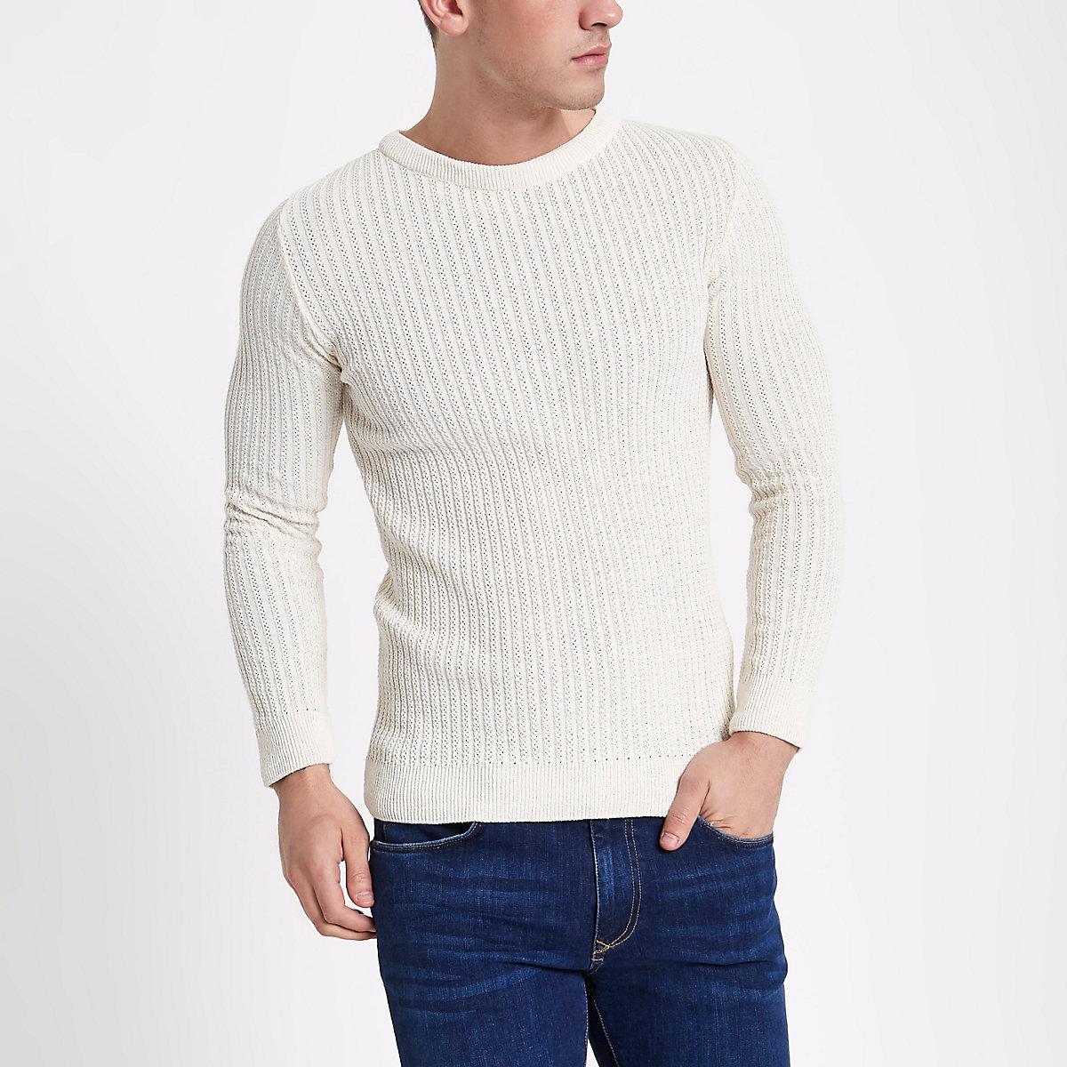 Cream rib muscle fit crew neck sweater