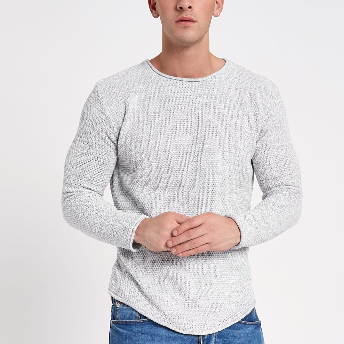 Grey textured knit rolled slim fit sweater