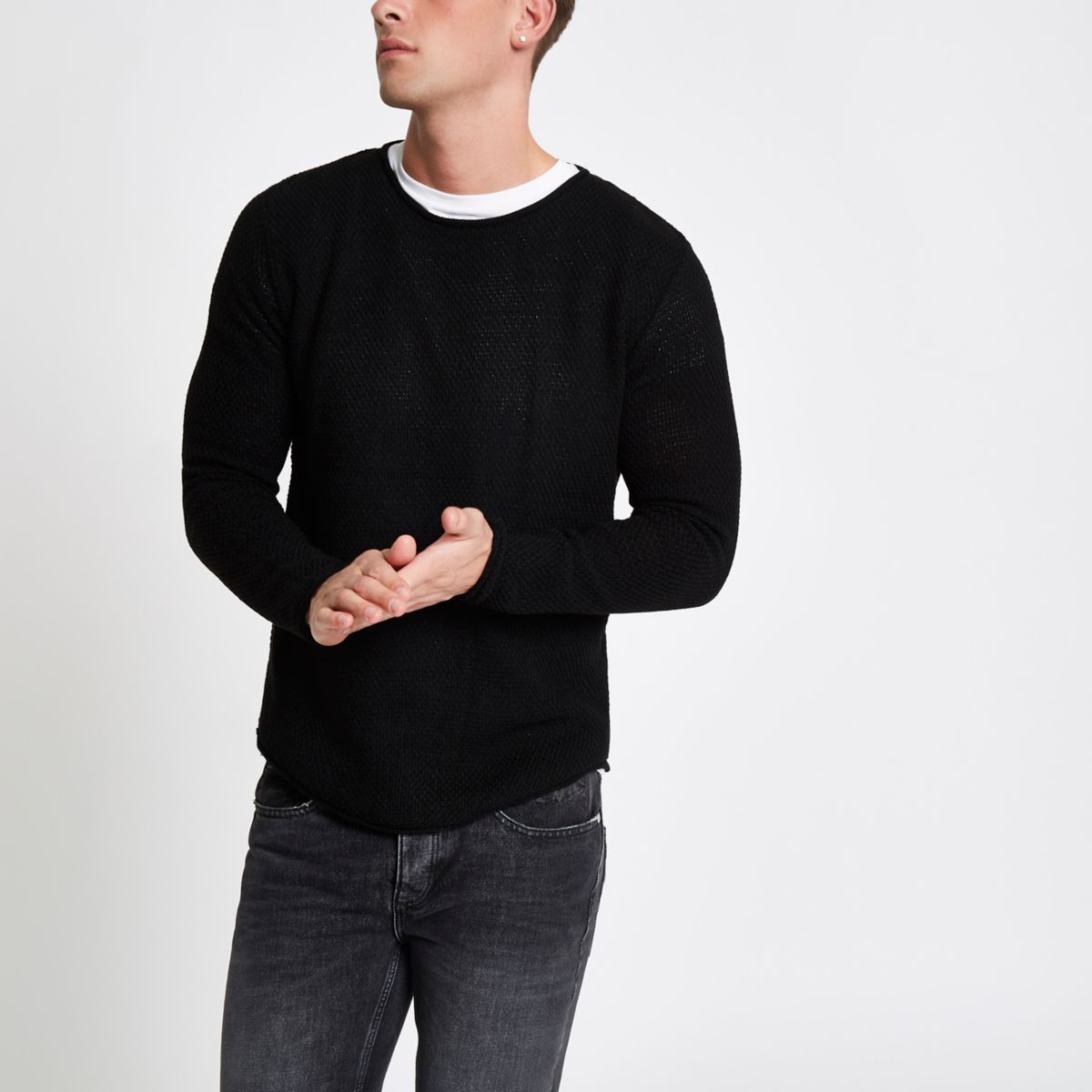 Black textured knit rolled slim fit jumper