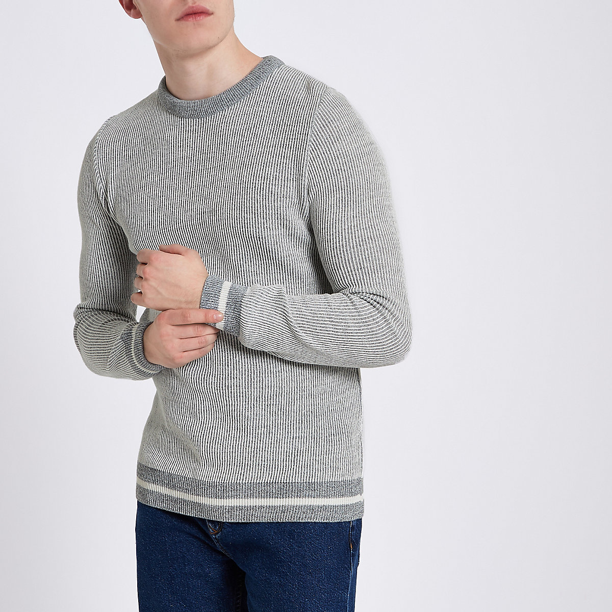 Light grey ribbed muscle fit jumper