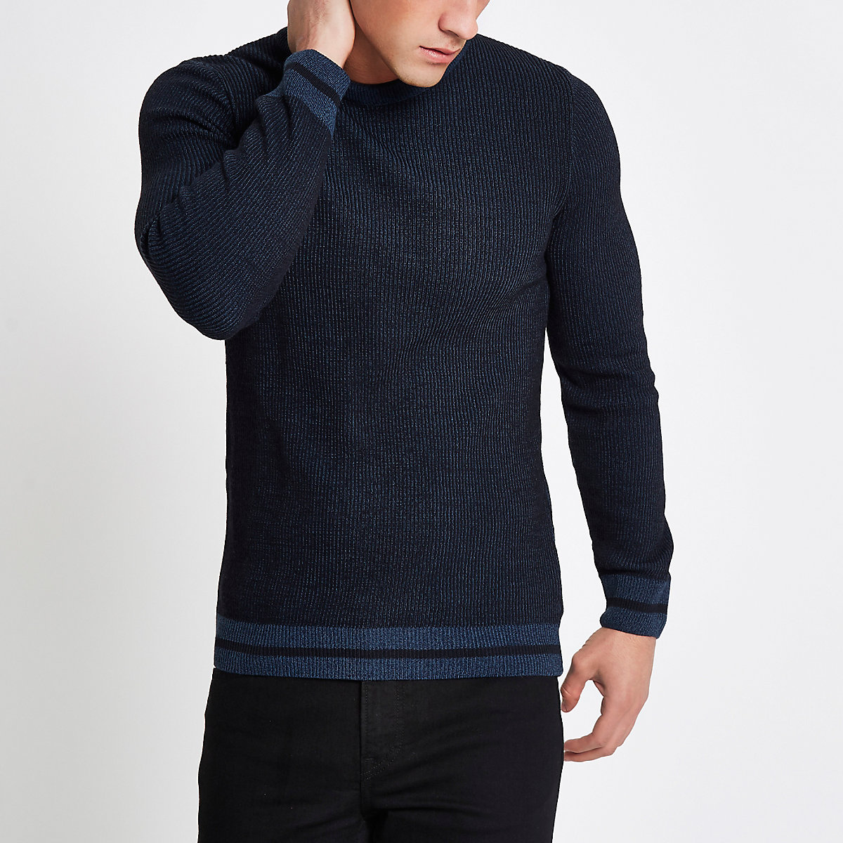 Navy ribbed muscle fit jumper