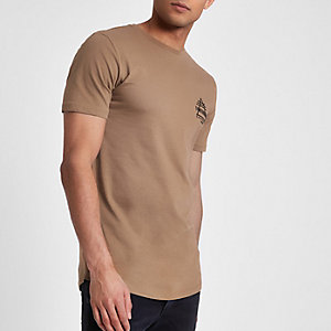 Tan 'focussed print longline slim fit T-shirt