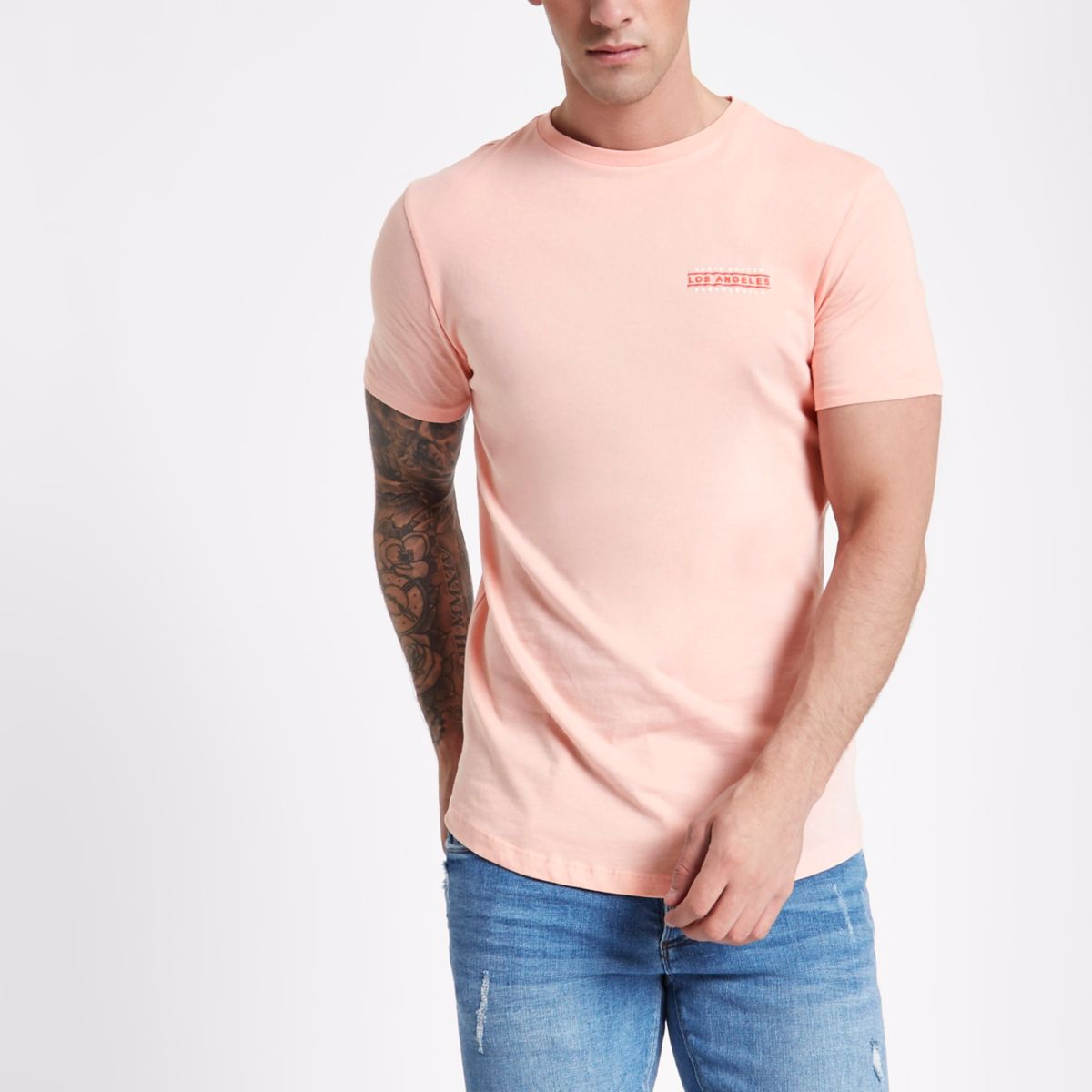 Pink 'Los Angeles' longline slim fit T-shirt