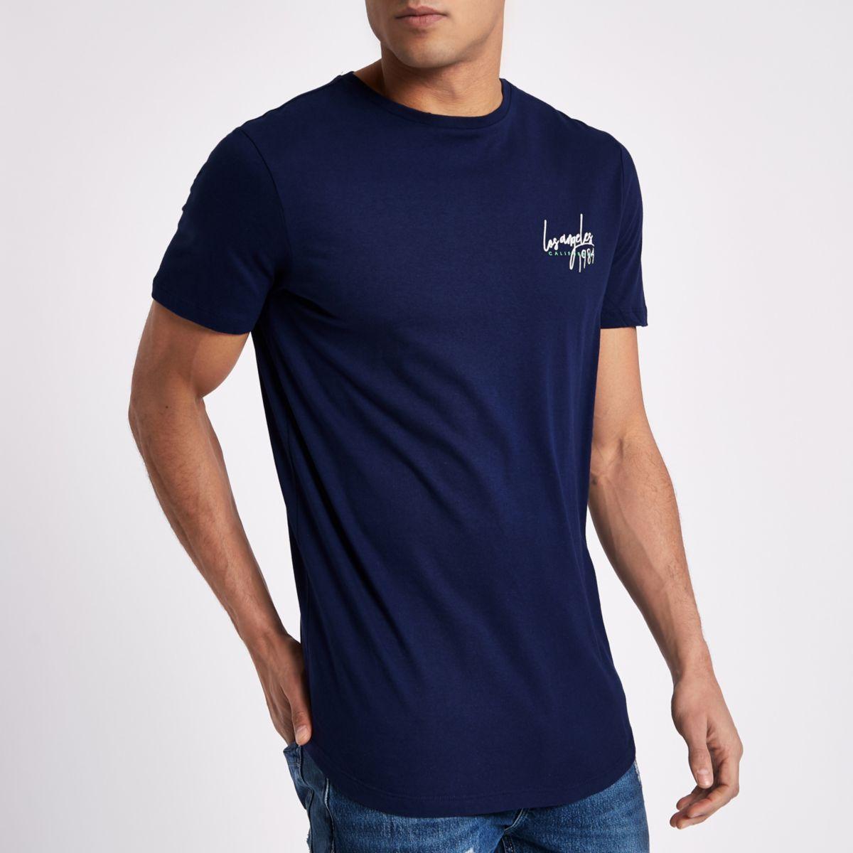 Navy 'LA 1984' print longline slim T-shirt