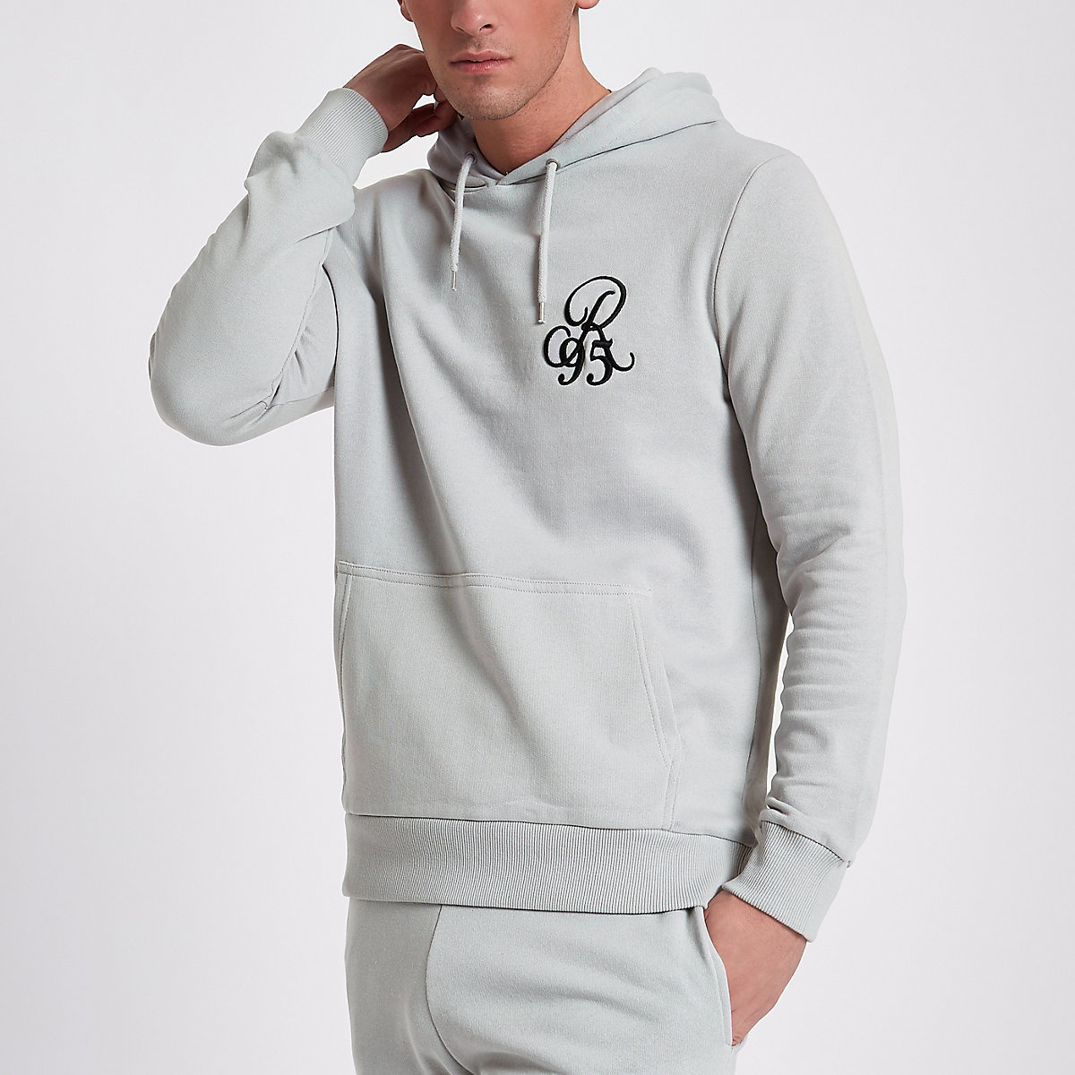 Light grey slim fit R95 hoodie