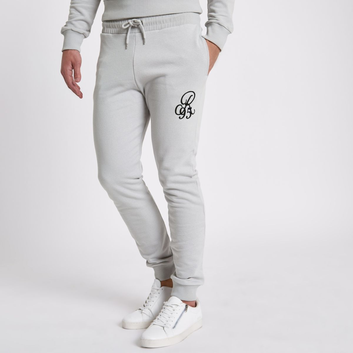 Grey slim fit R95 embroidered joggers