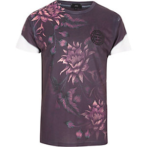 Purple floral print slim fit crew T-shirt