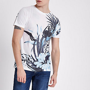 White tropical print slim fit crew T-shirt
