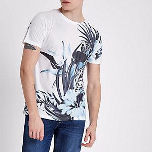 White tropical print slim fit crew T-shirt