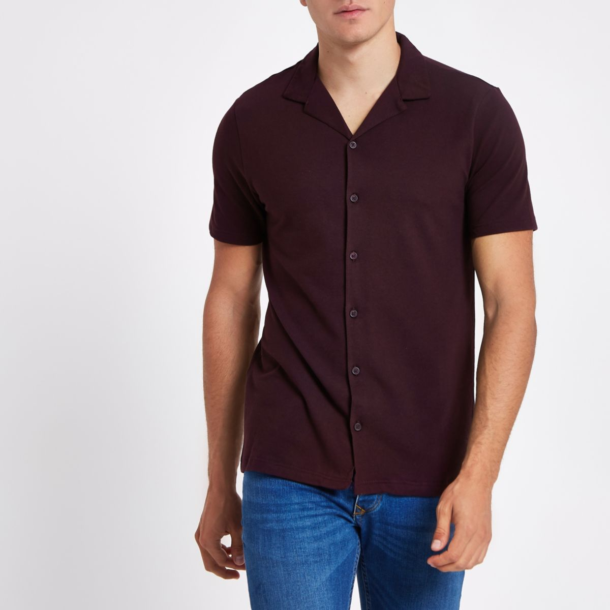 Dark red slim fit revere shirt