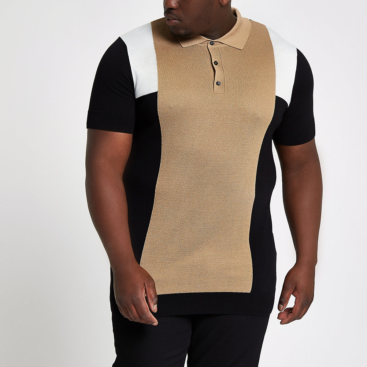 Big and Tall brown slim fit block polo shirt
