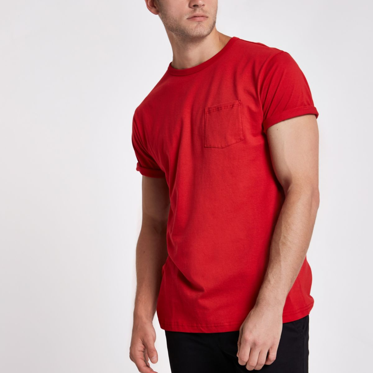 Red crew neck chest pocket T-shirt
