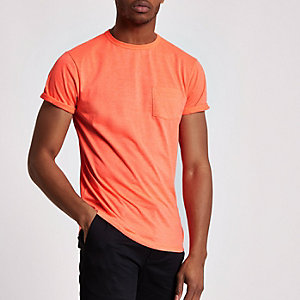 Oranges T-Shirt mit Rundhalsausschnitt