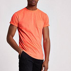 T-shirt ras-du-cou orange fluo à poche