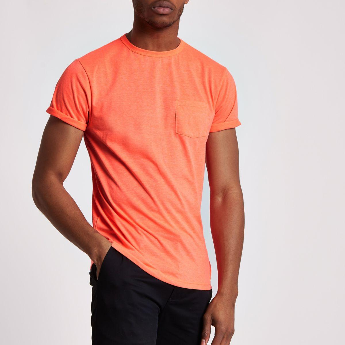 Orange fluorescent crew neck pocket T-shirt